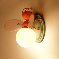 Cartoon Iron Firefly & Bee Wall Lamp with Glass Ball LED E27 Light for Children Room Bedroom Beside Decoration Light Fixture
