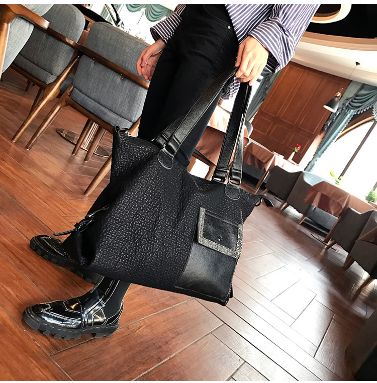 Black Fashion Bag Female Large Size 40cm Sheepskin Genuine Leather Women Handbag Tote Travel Crossbody Bag High Quality Hand Bag