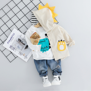 Image 2 - Kind Baby Jungen Kleidung Sets Cartoon Mantel 3PCS Mode Kleinkind Mädchen Baby Anzug für Jungen Mantel + t shirt + hosen 1   4 Y