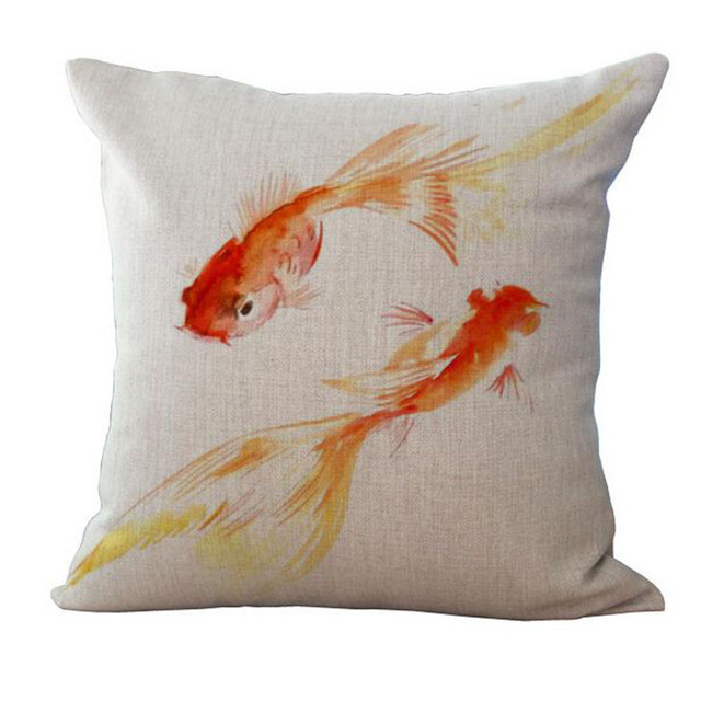 Watercolor Sea World Print Cushion Cover 4
