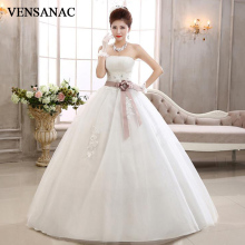 VENSANAC 2018 Pleat Strapless Ball Gown Lace Appliques Wedding Dresses Crystal Flower Sash Backless Bridal Gowns