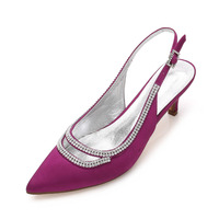 Creativesugar slingback satin evening dress shoes pointed toe cutout rhinestone diamonds edge 6cm heels pumps bridal wedding