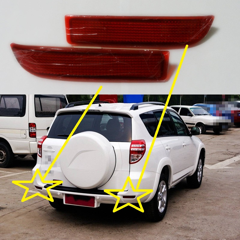 2Pcs/Pair Rear Tail bumper reflectors fog lamp light for Toyota RAV4 2009-2012 1 piece rh rear bumper light fog lamp light for toyota landcruiser prado fj90 1997 1999