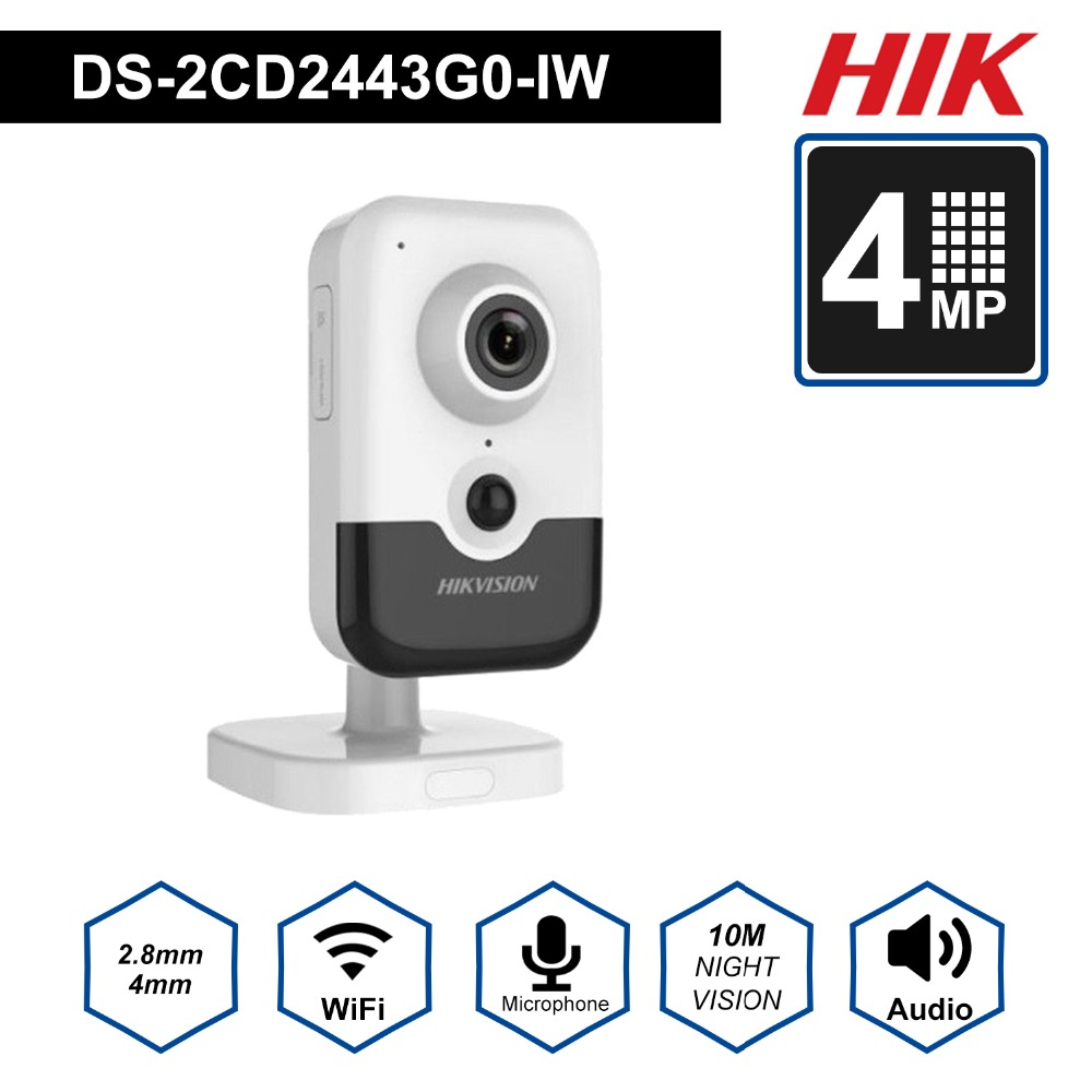 HIK New Video Surveillance Wi-Fi Camera PoE DS-2CD2443G0-IW 4MP IR Fixed Cube Wireless IP Camera Built-in Speaker H.265+HIK New Video Surveillance Wi-Fi Camera PoE DS-2CD2443G0-IW 4MP IR Fixed Cube Wireless IP Camera Built-in Speaker H.265+