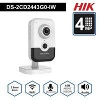 HIK New Video Surveillance Wi Fi Camera PoE DS 2CD2443G0 IW 4MP IR Fixed Cube Wireless IP Camera Built in Speaker H.265+