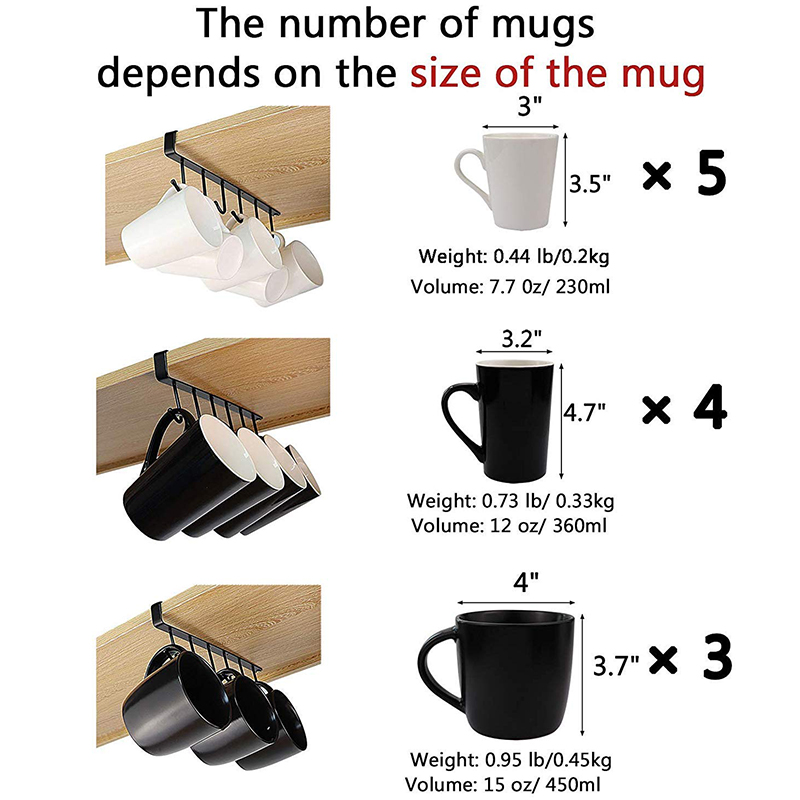 Multi Function 3Pcs X 6 Hooks Mug Holder Under Cabinet Coffee Cup Hanger for Kitchen Armoire and Any Thickness Of 0 8 Inch or in Cup Tumbler Holders from Home Improvement