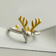 New Arrival Fashion Cute Animal 925 Silver Jewelry Popular Elk Antler Deer Female Opening Beautiful Ring   SR267