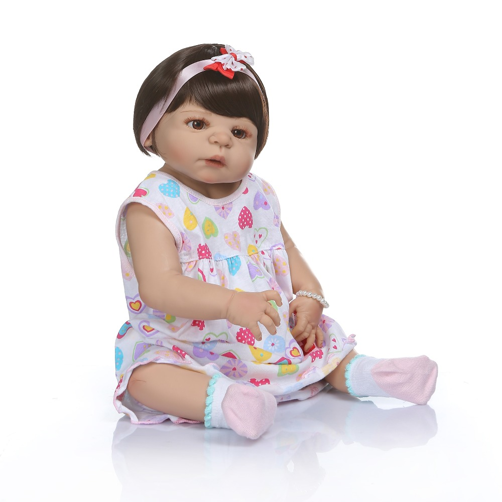 Npk 56 cm 신생아 비비 인형 다시 태어난 아기 인형 탄 피부 전신 실리콘 목욕 장난감 롤 인형 xmas gfit-에서인형부터 완구 & 취미 의  그룹 3