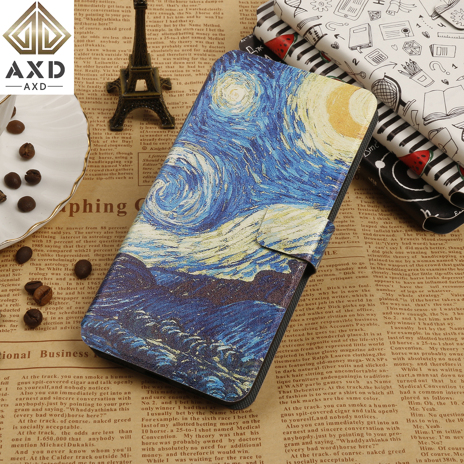 AXD painting Flip case for Apple <font><b>iphone</b></font> 6 6S 7 <font><b>8</b></font> Plus <font><b>fundas</b></font> wallet cover stand capa card leather coque for X XS XR Max iphoneX image