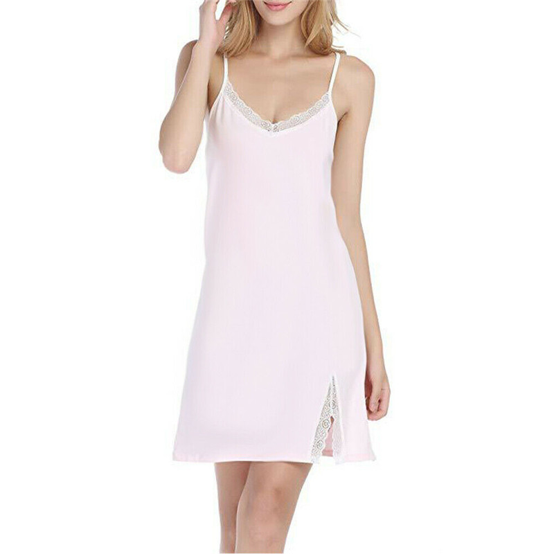 New Fashion Women's Strappy Silk Lace Sleepwear V-Neck Summer   Nightgowns     sleepshirts   Nightdress Lingerie Night Mini Dress Solid