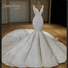 Nieuwe Mermaid Wedding Dress Jurk Met Lange Trein 2019