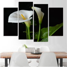 4 Panel Hot Sell Modern Wall Painting Home Decorative Art Picture Paint on Canvas Poster The charming white flower unframed
