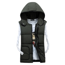 b Mens Sleeveless Vest Homme Winter Casual Coats Male Cotton-Padded Thickening Men Waistcoat Plus Size Chaleco con capucha