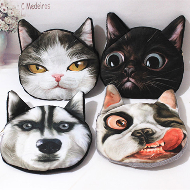 3D cute girl wallet bag ladies face zipper mini cat coin purses dog children's purse plush coins pouch Unisex portefeuille femme new cat purse pu leather zipper wallet women coins purses cute carrot watermelon hand holding coin bag with key ring pouch