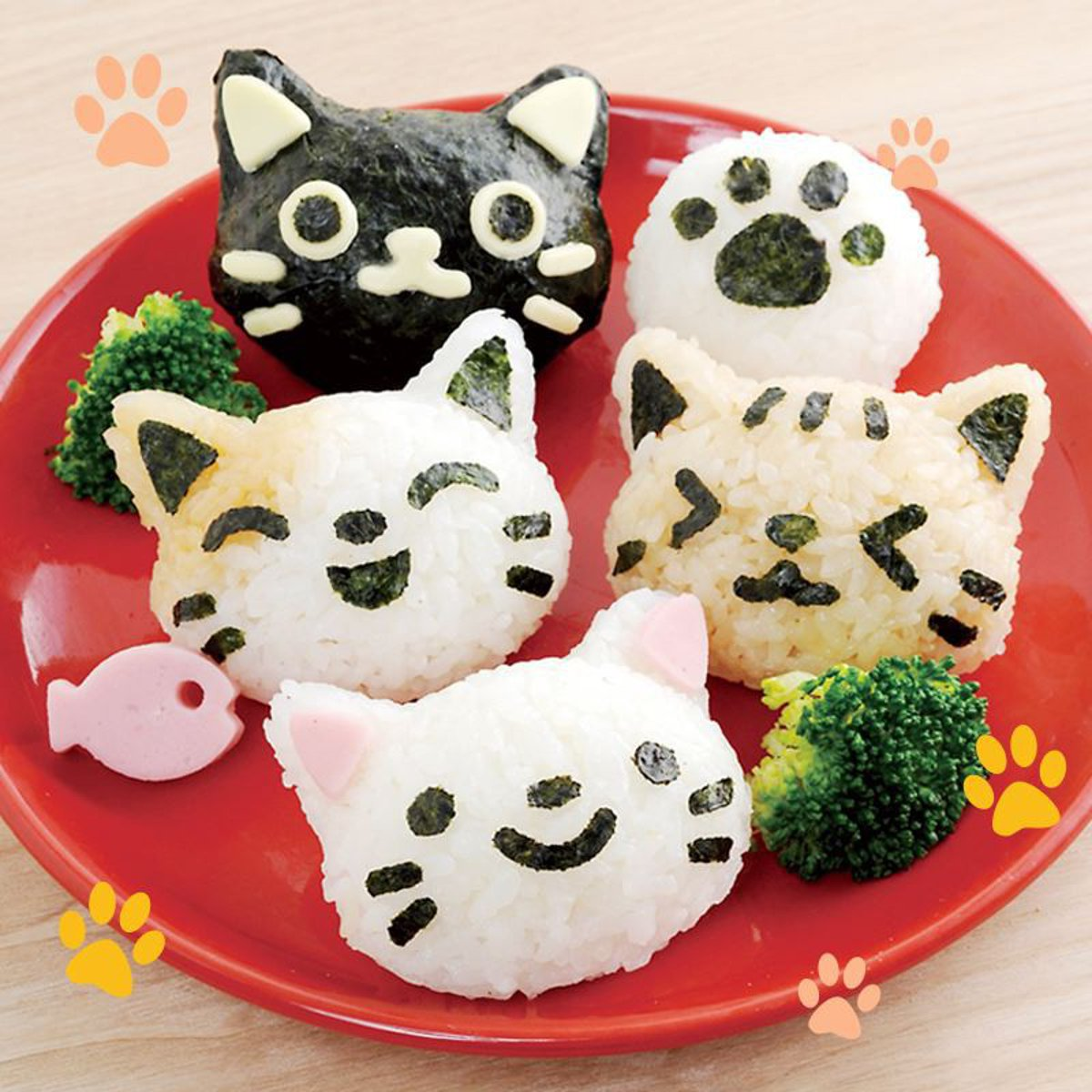 Colorful DIY 3D Cute Cat Bento Rice Ball Sushi Plastic Molds Kitchen Sushi Cooking Tools Chocolate Sandwich Cutter Mould Maker