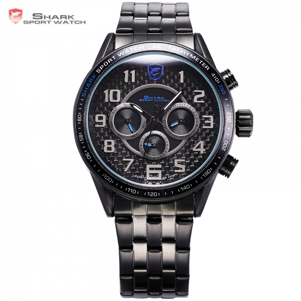 Blackspot Shark Sport Watch Fashion Stainless Steel Band Calendar Blue Dial Arabic Numbers Male Quartz Military Watches / SH367 new 2018 fashion men dress shoes black cow leather pointed toe male oxfords business shoes lace up men formal shoes yj b0034 page 7