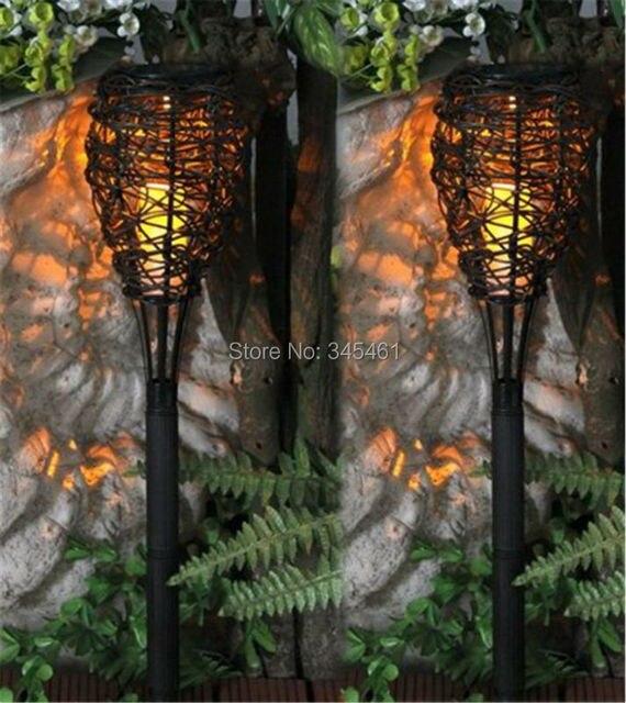unidslote nueva luz solar para jardn amarillo caliente solar led nido tejido decorativo