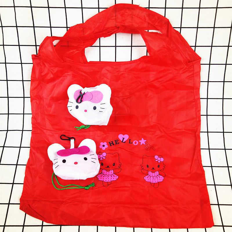 Bonito saco de Compras Saco de Viagem Dobrável de Armazenamento Bolsa Tote do Mantimento Reutilizáveis Senhoras Bolsas de Supermercado Saco de Armazenamento Em Casa