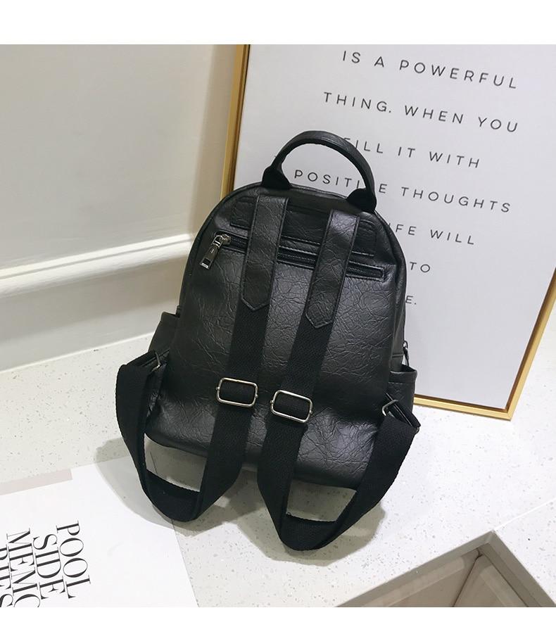 HTB1JhhocMaH3KVjSZFjq6AFWpXaR Women Leather Backpack Teenage Girls School Bag Female Vintage Large Solid Soft Backpacks Mochila Black Back Pack Bags New XA86H