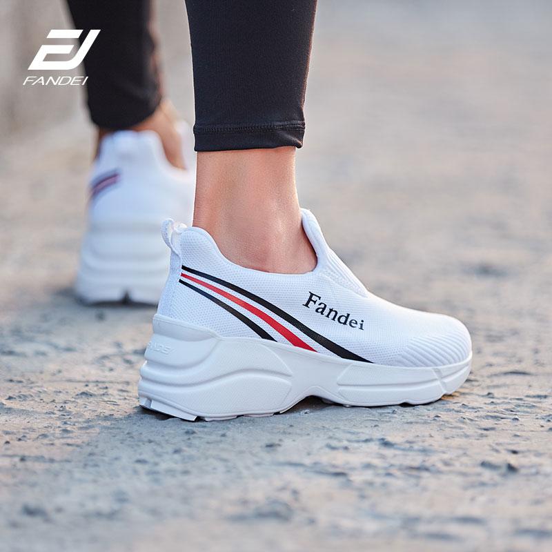 FANDEI zapatos para mujeres plataforma zapatos para caminar transpirable malla mujeres calcetines zapatillas talón del hight Zapatos de deporte Mujer