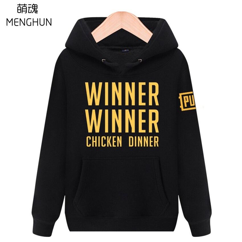 PUBG GAME hoodies high quality cotton warm Autumn Winter men's hoodies WINNER WINNER CHICKEN DINNER hoodies cool game fans gift