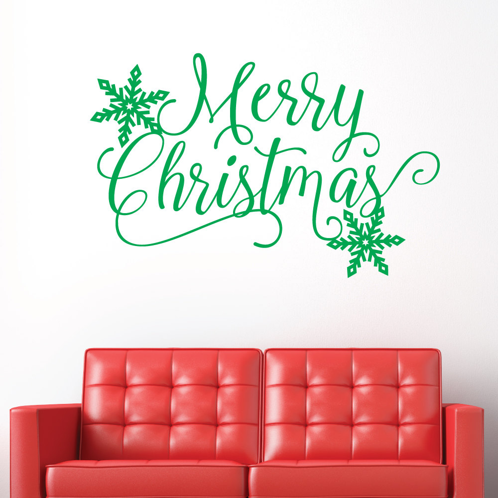 Wall Decals Merry Christmas Quotes Snowflake Diy Home Decor Art