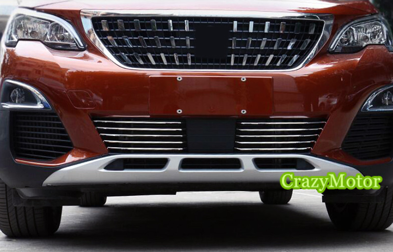 10pcs/set Stainless front bottom center grille grill trim FOR PEUGEOT 3008 GT 2016 2017 car styling