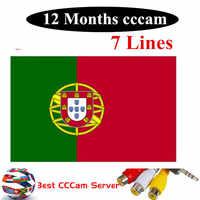 Especial para Portugal Europa HD 1 año CCCam España Portugal Alemania Polonia receptor de tv satelital 6 líneas para DVB-S2 v7s v8 SUPE