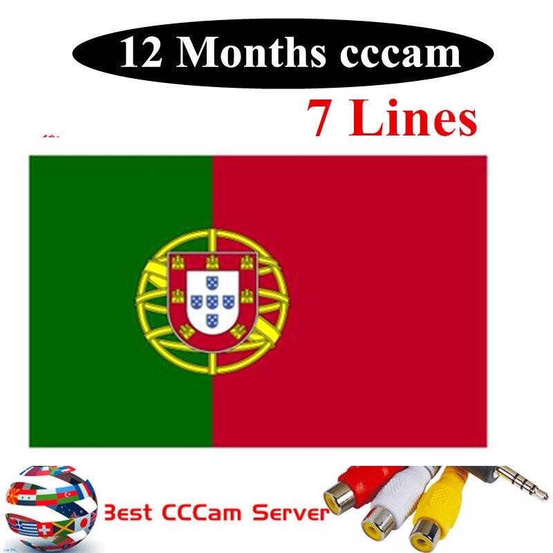 Spécial pour Portugal Europe HD 1 an CCCam espagne Portugal allemagne pologne Satellite tv récepteur 6 lignes pour DVB-S2 v7s V8 SUPE