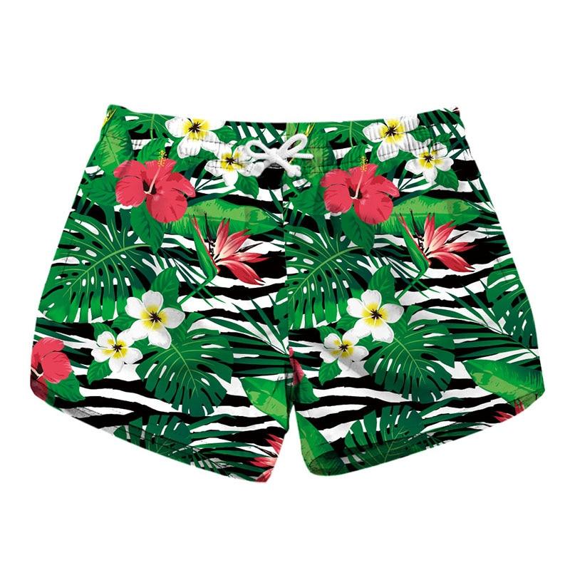 Floral Printed Ladies Elegant   Short   Elastic Waist 2019 Summer Quick Dry Swim Bottom Trunks Casual Women   Shorts