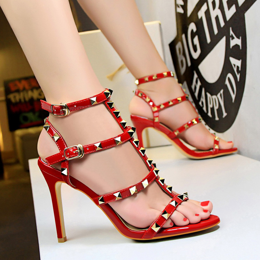 New summer women shoes Star same style Rivet shoes Ankle strap Sexy hollowed sandals with high heels Party shoes C0740 in Women 39 s Pumps from Shoes