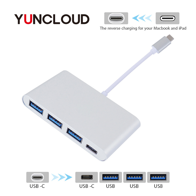 YUNCLOUD USB Type-C 3.1 Hub to 3*USB 3.0 Ports & Type C PD Power Delivery Charging USB 3.0 Splitter Adapter Hub for DELL Macbook usb type c pd charger 75w 4 ports usb c pd quick charge 3 0 smart desktop charger with power delivery for xiaomi air dell xps