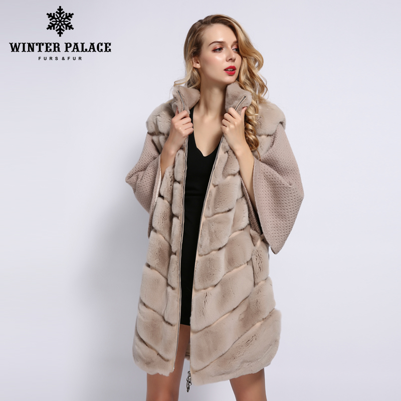 WINTER PALACE 2019 Women's Winter Rabbit Fur Coat Bat Stand Collar Cashmere Stitching Sleeves Short Sleeve Rabbit Fur Coat