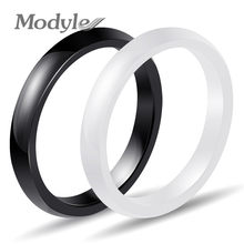 Modyle New 3mm Light Pink Black White Blue Beautiful Smooth Ceramic Ring For Women Modern Wedding Russian Brand Ring Jewelry(China)