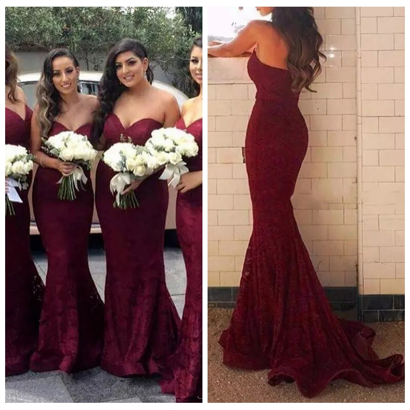 Popular Dark Red Bridesmaid Dress-Buy Cheap Dark Red Bridesmaid ...