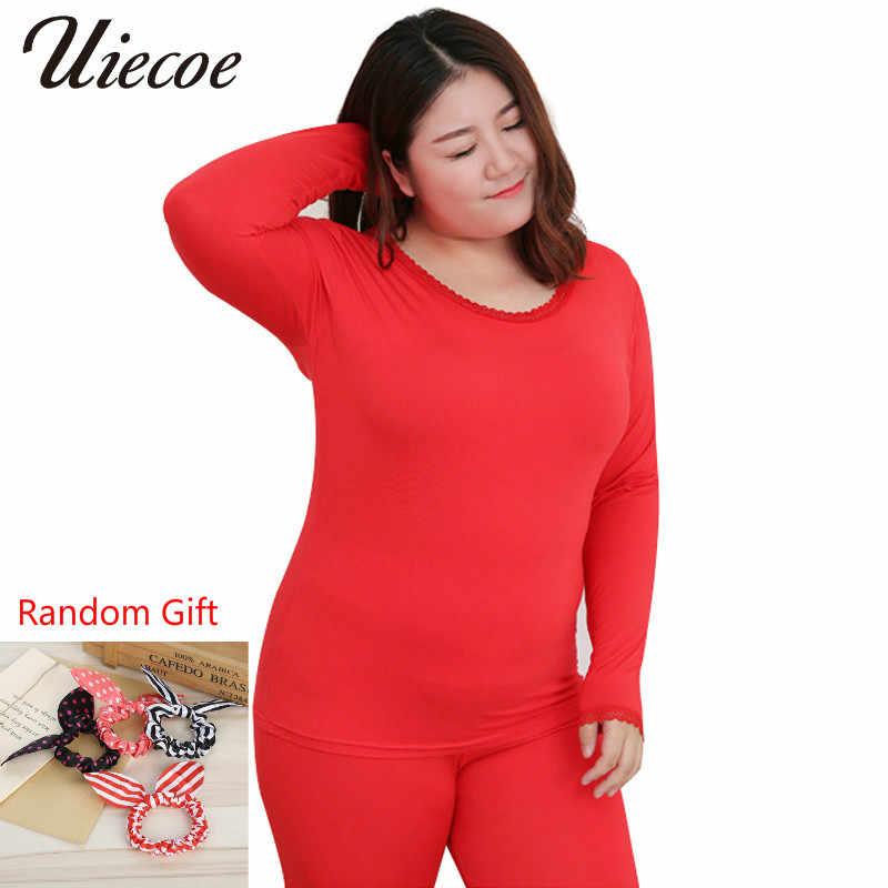 Plus Größe 2X-6XL Neue Frauen Lange Unterhosen Modale Elastische Beiläufige Thermische Unterwäsche Frauen Oansatz Spitze Bodenbildung Anzug mit Geschenk