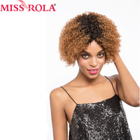 Miss Rola Pre-Colored Wigs Omber #30 /4 Color Brazilian Kinkly Curly Short Human Hair Wigs for Black Women 8inch Free Shipping