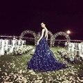 Espumante Longo Azul Royal Vestidos de Baile 2016 Frisado Luxo Cetim Baixo voltar Uma Linha Sexy Vestidos de Festa New Dubai Vestido de Noite do baile de Finalistas