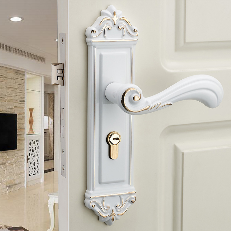 European white interior room door lock modern minimalist - Door handles with locks for bedrooms ...