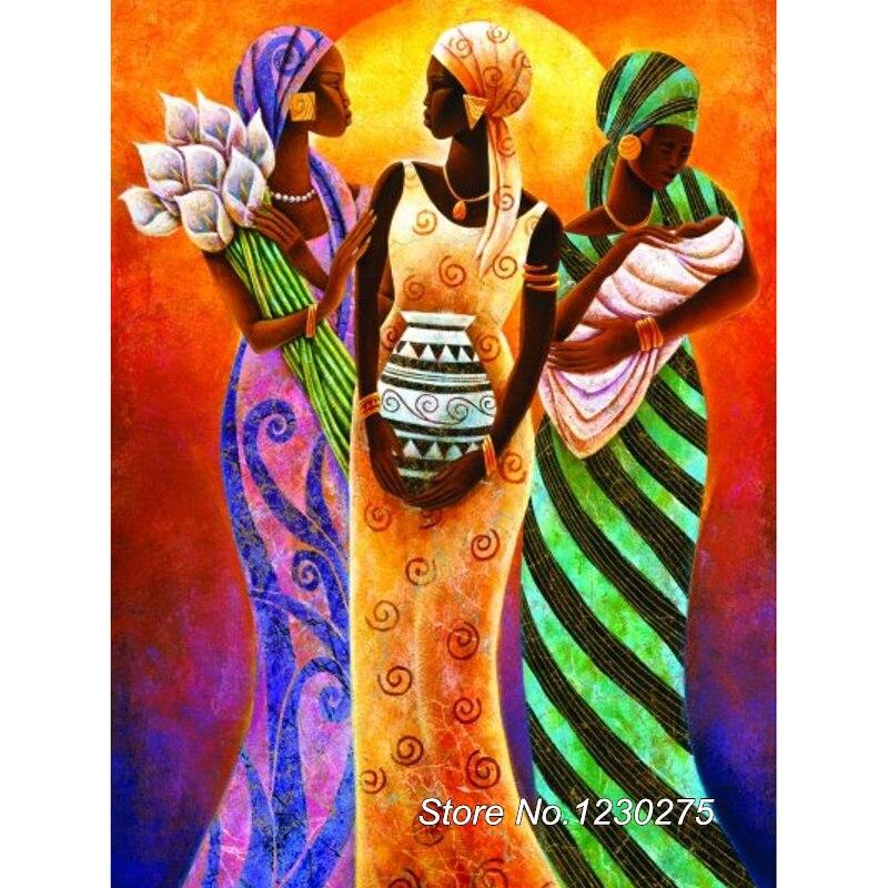 Full Diamond Embroidery Diy Diamond Painting Cross Stitch African woman Square Diamond Mosaic Room Decor SD158