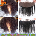 Cheap Mongolian Kinky Curly Lace Frontal Closure 13x4 Full Lace Frontal Closures Bleached Knots Afro Kinky Curly Lace Frontals