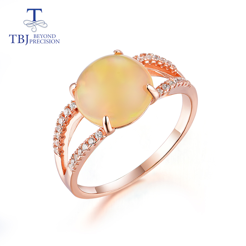 TBJ 2019 new natural Ethiopian opal Round 10mm 2 2ct gemstone Ring 925 sterling silver fine