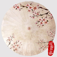Classical Retro Pink Plum Blossom Chinese Handmade Oil Paper Umbrella Cosplay Parasol Decoration Gift Dance Umbrella