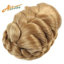 Allaosify Braided Clip In Hair Bun Women Chignons Ponytail Hairpieces Synthetic Hair Clips In Hair Extensions(China)