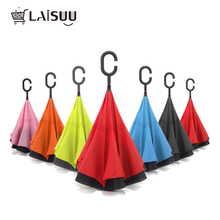 Fashion Windproof Reverse Folding Double Layer Inverted Rain Umbrella Self Stand Protection C-Hook Hands For Car