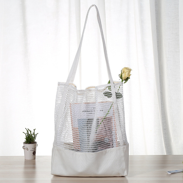Canvas and Mesh Shopping Bag