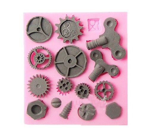 Steampunk Gears Confeitaria Silicone Mold Fondant Cake Moulds