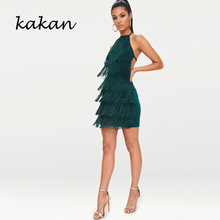 цена на Kakan summer new women's dress sexy halter straps fringed wavy strap dress black dark green dress