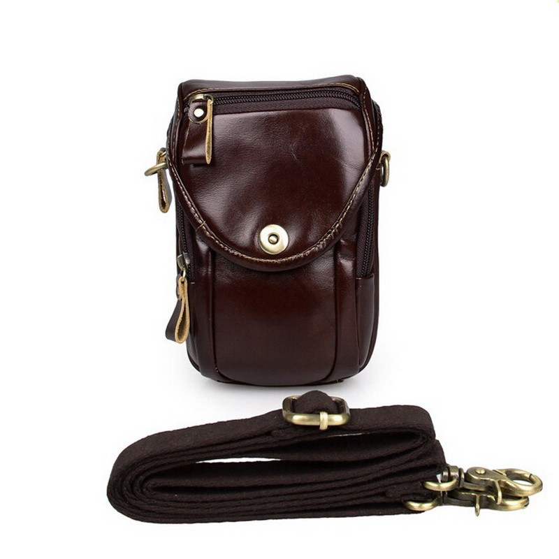 Causal cowhide leather men bags small crossbody men messenger bags genuine leather waist pack mini cell phone bag camera bag (5)