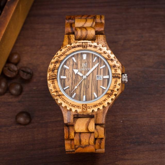 Amantes naturais 100% caixa de Relógio de Madeira com a Cor Da Zebra Homens relógios Quartz Analog Watch Com Calendário De Madeira De Bordo